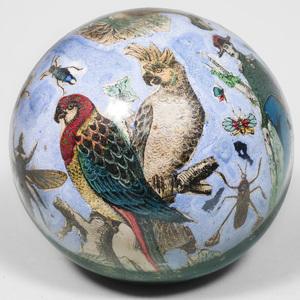Italian Decalcomania Glass Sphere