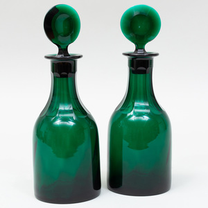 Pair of George III Bristol Green Glass Mallet Decanters