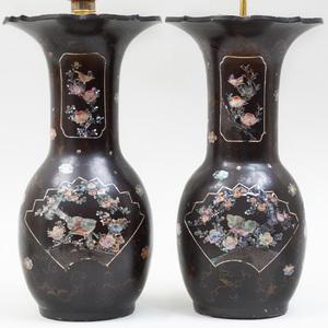 Pair of Japanese Lac Burgauté Style Vases