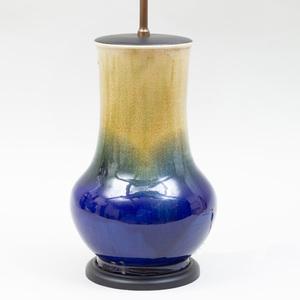 Asian Blue Flambé Glazed Porcelain Lamp