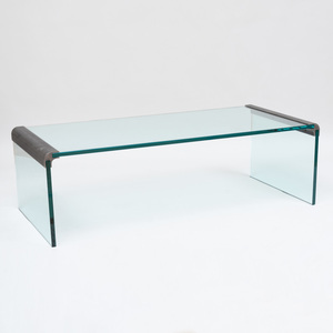 Modern Glass and Bronzed-Steel Low Table, Pace Collection