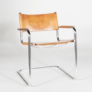 Marcel Breuer Tubular Chrome and Tan Leather Armchair