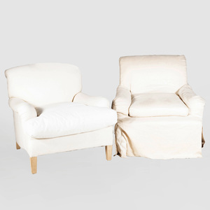 Two Similar Upholstered Club Chairs