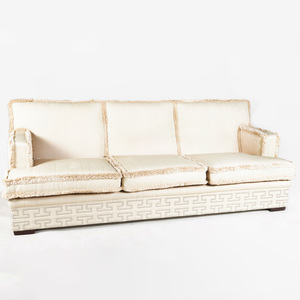 Linen Three Seat Sofa with Fringe Borders