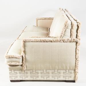 Linen Three Seat Sofa with Fringe Borders
