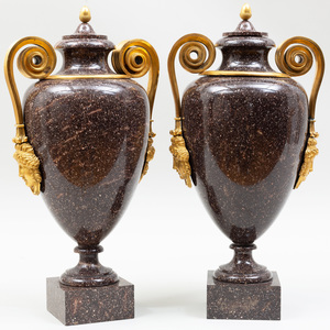 Fine Pair of Swedish Neoclassical Ormolu-Mounted Porphyry Covered Urns