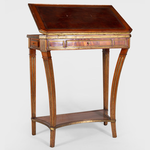 Rare Russian Brass-Mounted Mahogany Reading and Writing Table