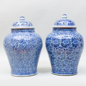 Near Pair of Large Chinese Export Blue and White Porcelain Jars and Covers