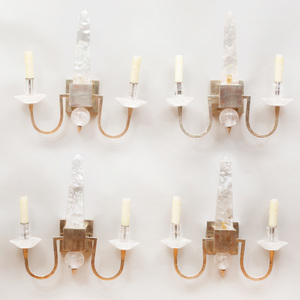 Set of Four Polished Nickel-Mounted Rock-Crystal Two-Light Sconces