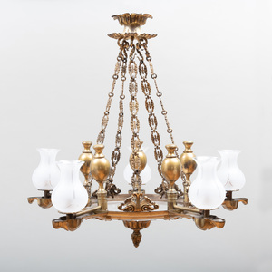 William IV Gilt-Bronze and Brass Five-Light Chandelier with Hurricane Shades