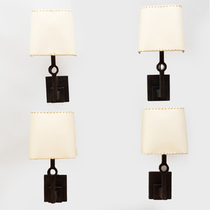 Set of Four Modern Bronze Single Arm Sconces
