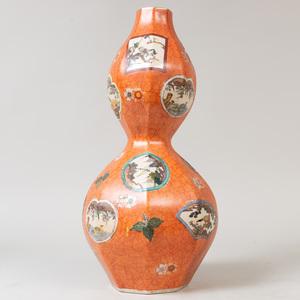 Large Mason's Style Orange Ground Porcelain Double Gourd Vase