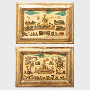 Pair of Italian Painted Lacca  Povera Panels