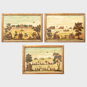 Set of Three Italian Painted Lacca Povera Panels
