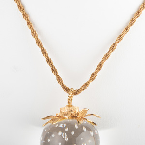 Steuben Crystal and 18k Gold Strawberry Pendant on a 14k Gold Rope Chain