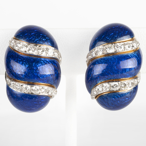 David Webb 18k Gold, Diamond and Blue Enamel Earclips