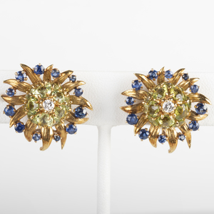 Pair of Schlumberger for Tiffany & Co. 18k Gold, Peridot, Sapphire and Diamond