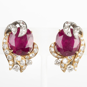 Pair of 18k Yellow and White Gold, Rubelite and Diamond Earclips