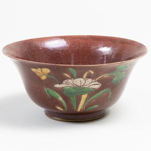 Aubergine, Ochre and Green Glazed Porcelain Bowl