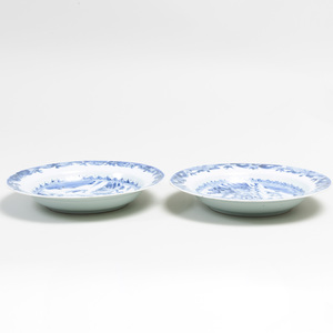 Pair of Chinese Blue and White Porcelain Dishes