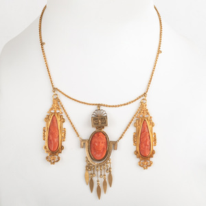 Victorian Gold and Carved Coral Necklace