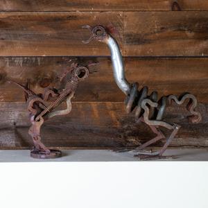 Two Metal Chicken Form Sculptures