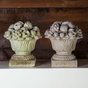 Pair of Cast Stone Fruit and Flower Filled Urns