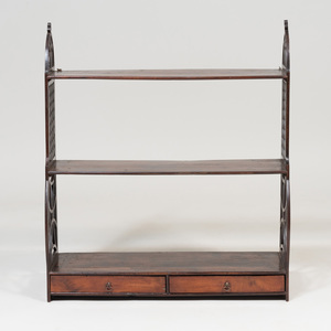 Late George III Stained Pine Three Tier Hanging Shelf