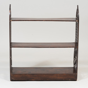 Late George III Stained Pine Three Tier Hanging Shelf