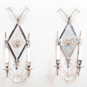 Pair of Napoleon III Style Silver Plate and Cut Glass Two-Light Sconces