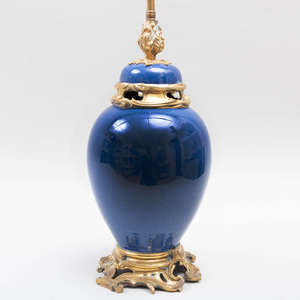 Chinese Blue Porcelain Ormolu-Mounted Jar and Cover Mounted as a Lamp