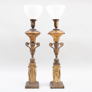 Pair of Napoleon III Ormolu Oil Lamps