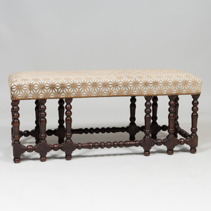 Baroque Style Stained Wood Window Bench