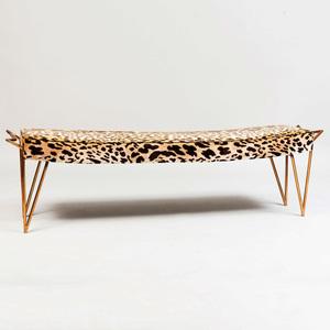 Art Deco Style Gilt Metal Leopard Print Velvet Bench