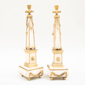 Pair of Louis XVI Ormolu Mounted White Marble Obelisks