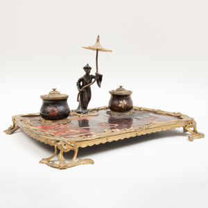 Louis XV Style Coromandel Lacquer and Bronze-Mounted Encrier