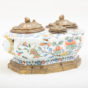 Rouen Faïence Polychrome Octagonal Cruet Stand, Mounted in Gilt-Bronze as an Inkwell