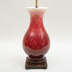 Chinese Copper Red Glazed Vase Mounted As a Lamp