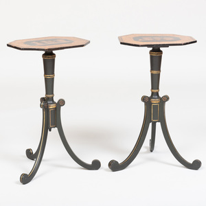 Pair of Regency Penwork and Japanned Tripod Tables