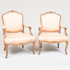 Two Similar  Louis XV Painted Fauteuils à la Reine