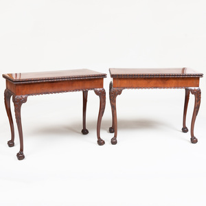 Pair of George III Style Mahogany Concertina-Action Games Tables