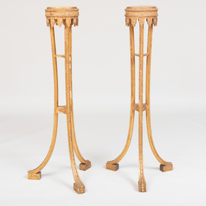 Pair of George III Style Giltwood Tripod Torchères