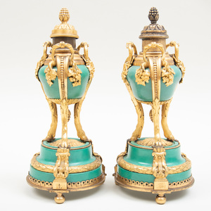 Pair of Louis XVI Style Gilt-Bronze Mounted Porcelain Cassoulets