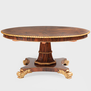 Regency Style Rosewood and Parcel-Gilt 'Jupe' Extension Circular Dining Table