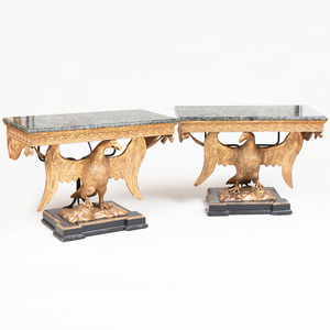 Pair of George II Style Giltwood Eagle-Form Consoles