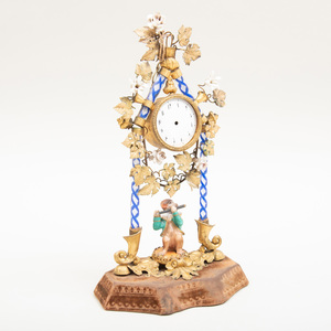 Continental Ormolu-Mounted Porcelain and Caned Glass Clock