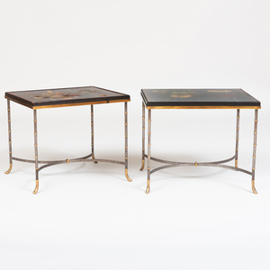 Pair of Chinese Coromandel Lacquer and Brass Low Tables