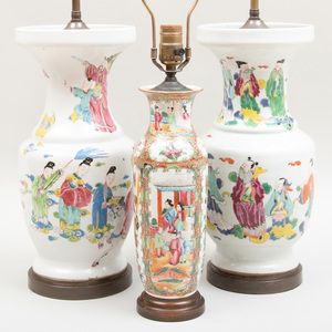 Pair of Chinese Export Famille Rose Porcelain Vases Mounted as Lamps