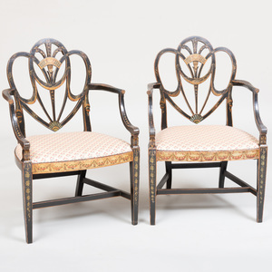 Pair of George III Black Japanned Shield-Back Armchairs