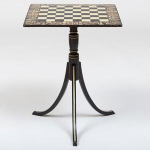 Regency Penwork and Ebonized Tripod Games Table